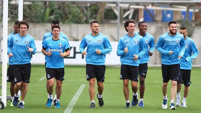 Galhardo, Giuliano, Bobô, Pedro Geromel, Marcelo Oliveira Grêmio (Foto: Lucas Uebel/Grêmio)