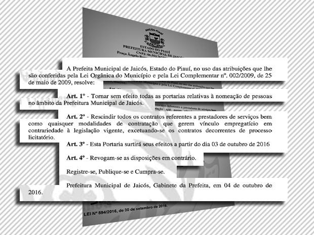 Em decreto, prefeita exonera todos os servidores e anula contratos  (Foto: Diário Oficial dos Municípios )