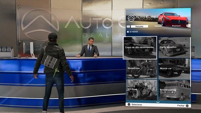 Concessionárias dão acesso aos veículos comuns de Watch Dogs 2 (Foto: Reprodução/Felipe Demartini)