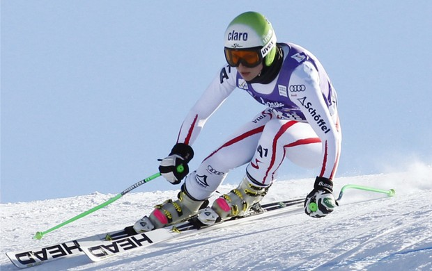 esqui alpino Anna Fenninger treina para a Copa do Mundo de Val d'Isere (Foto: EFE)