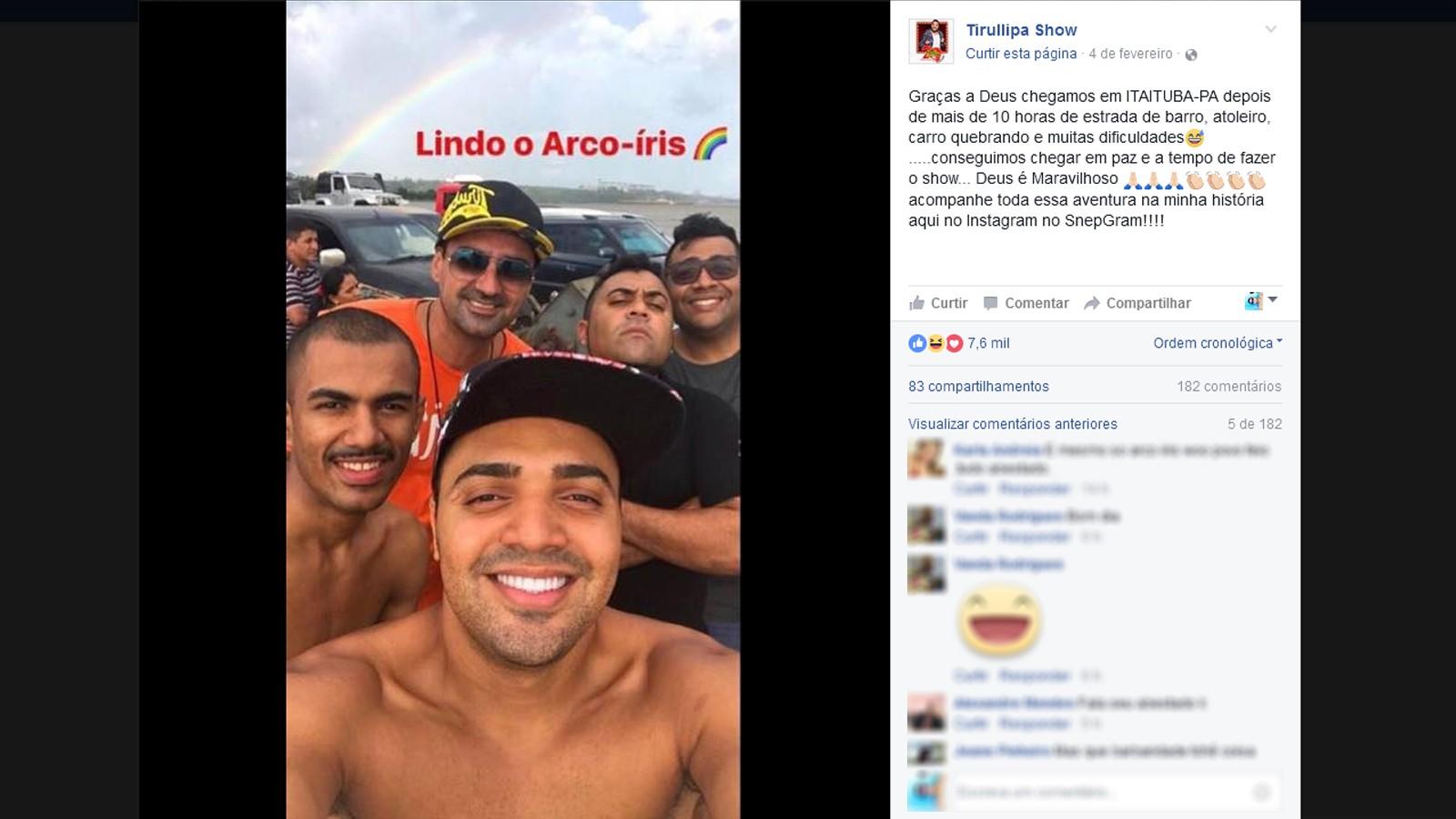 Trulipa fez fotos com a equipe depois de mais de 10h de viagem pela estrada (Foto: Reprodução/Facebook/Tirullipa Show)