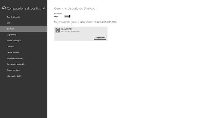 Windows 8 tem emparelhamento muito simples e intuitivo (Foto: Reprodução/Elson de Souza)