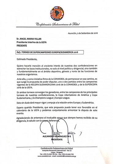 carta Conmebol (Foto: Reprodução)