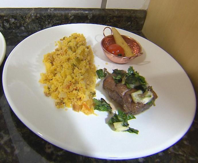 Pato com Farofa de Sabugosa foi o prato principal de Léo no Jogo de Panelas (Foto: Mais Você/Gshow)
