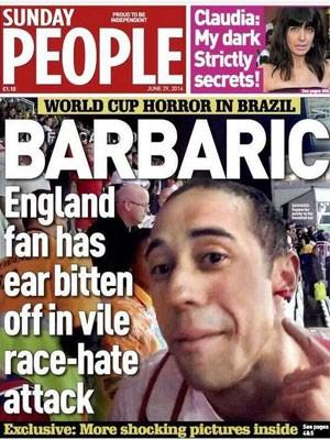 Capa da revista com torcedor inglês vítima de agressão (Foto: Reprodução)