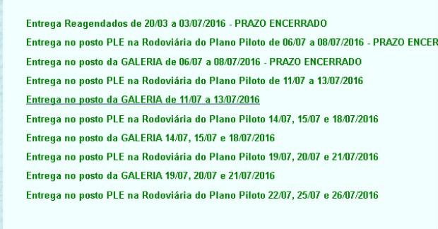 Lista disponível no site do DFTrans com datas e locais para retirada do cartão do Passe Livre (Foto: DFTrans/Reprodução)