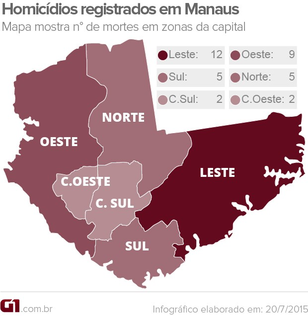 Mapa com zonas e homicídios registrados (Foto: Arte/G1 AM)