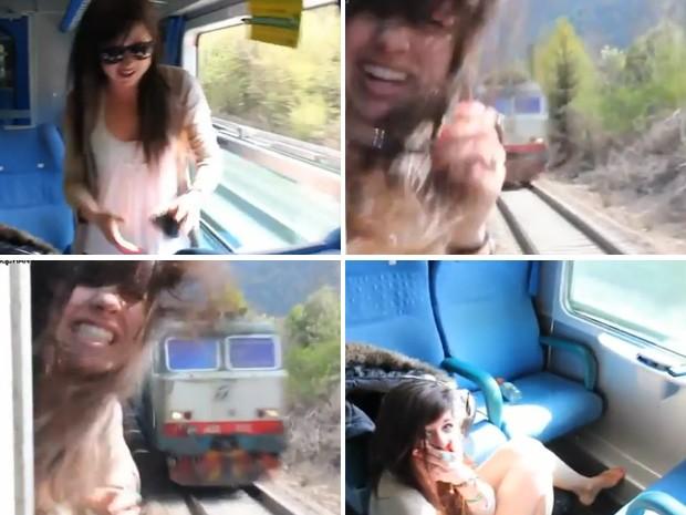 Jovem tirou a cabeça da janela pouco antes do trem passar no sentido contrário (Foto: Reprodução)