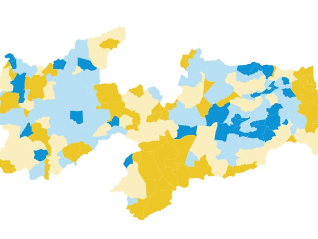 Mapa dos votos do segundo turno para governador na Paraíba (Foto: Arte / G1)