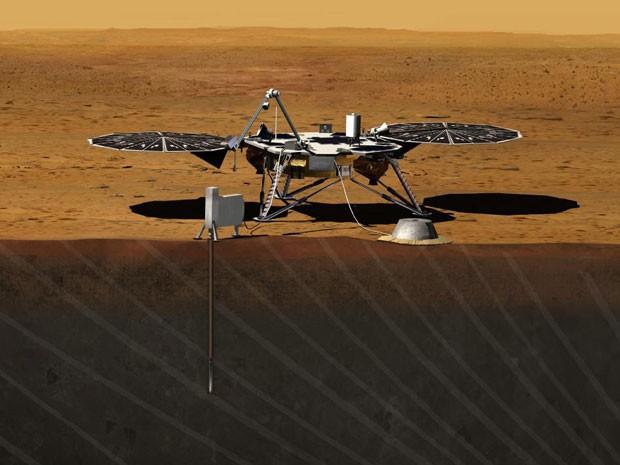 Ilustração de como será a exploração de Marte pelo InSight (Foto: Nasa/JPL)