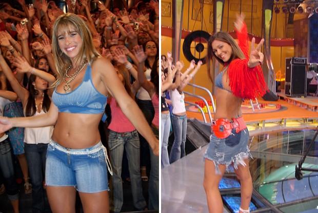 Figurino temático: Dany Bananinha no estilo funk e a ex-coleguinha Luana com visual sertanejo (Foto: Arquivo/Caldeirão)