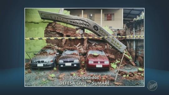 Casa é interditada pela Defesa Civil após muro desabar em Sumaré, SP