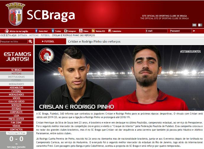 Anúncio de Crislan no Braga (Foto: Reprodução)