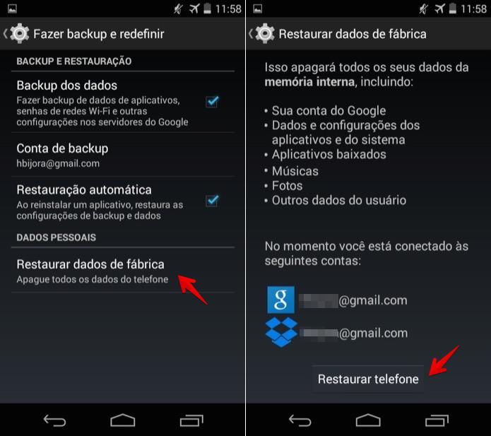 Restaurando configurações do Android aos ajustes de fábrica (Foto: Reprodução/Helito Bijora)
