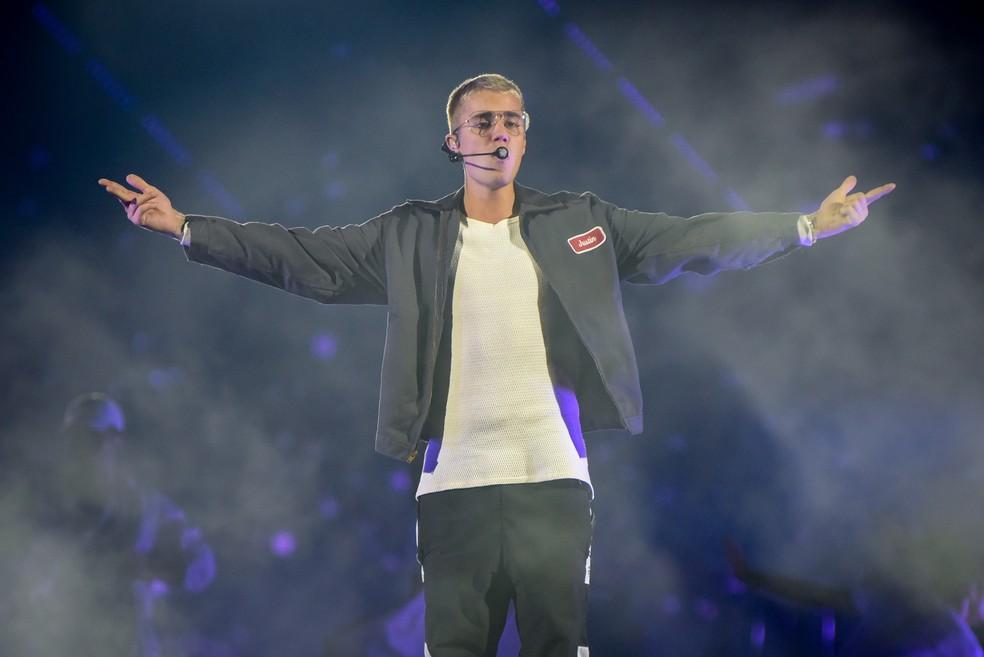 Justin Bieber no Allianz Parque, na Zona Oeste de São Paulo (Foto: Flavio Moraes/G1)
