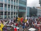 Trabalhadores protestam contra a reforma da previdência, em Belém