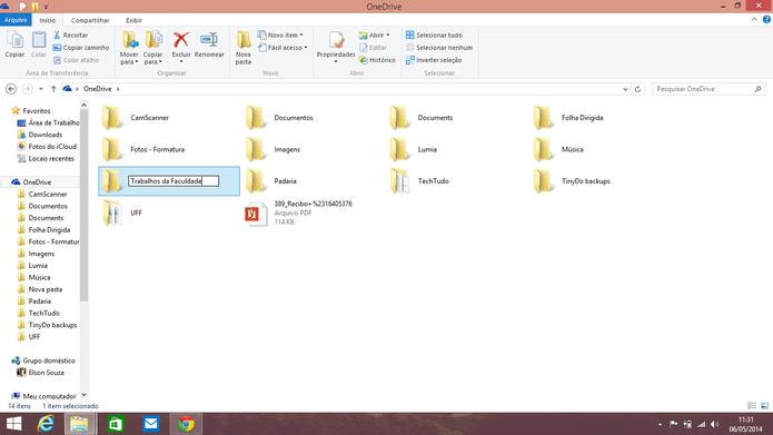 OneDrive pode ser modificado como uma pasta qualquer do Windows (Foto: Reprodução/Elson de Souza)
