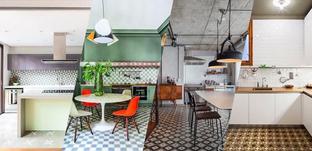 Cozinhas com ladrilho hidráulico (Foto: Casa Vogue)