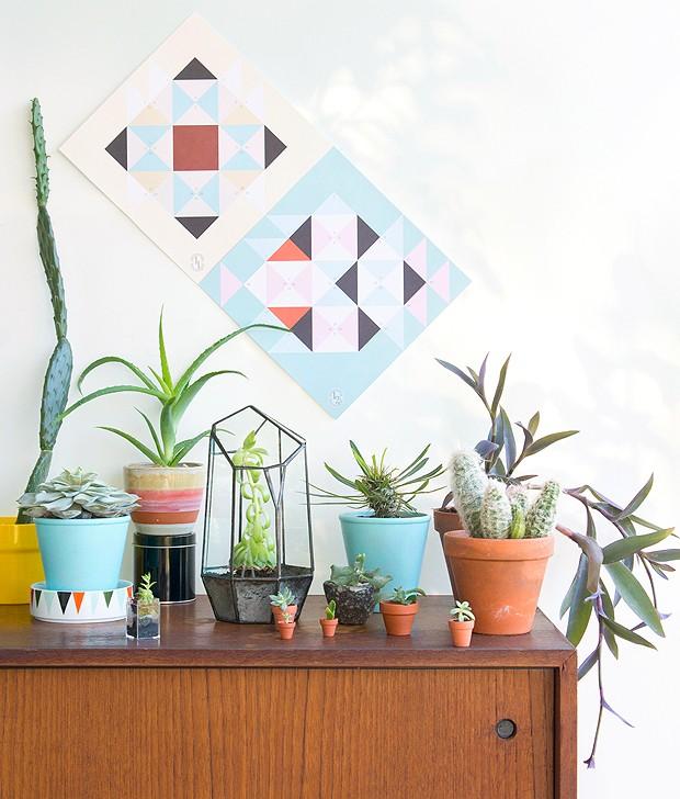 Vasos de diversos tamanhos com várias espécies de cactos e suculentas trazem uma charme a mais para este cantinho das plantas (Foto: Judith de Graaff | JOELIX.com)