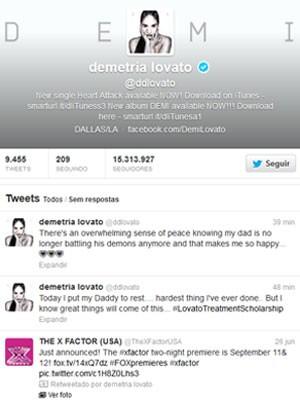 Demi Lovato fala sobre funeral do pai no Twitter (Foto: Reprodução/Twitter)