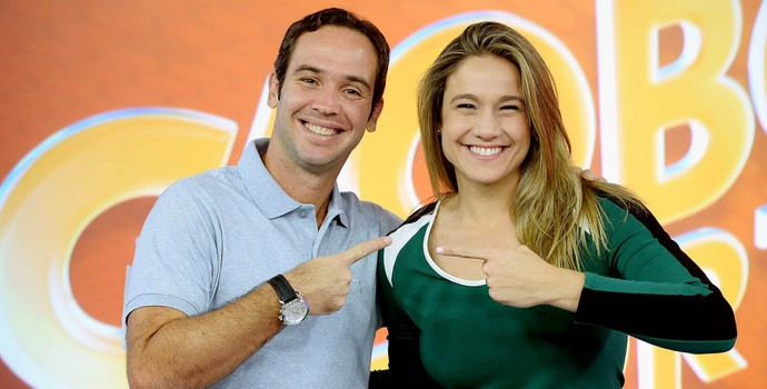 Fernanda Gentil e Caio Ribeiro globo esporte (Foto: Zé Paulo Cardeal / TV Globo)