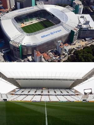estádios paulistanos (Foto: Thiago Fatich/Divulgação e Alexandre Schneider/Getty Images )