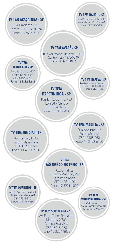 Endereços da TV TEM no interior paulista (Foto: Arte/TV TEM)