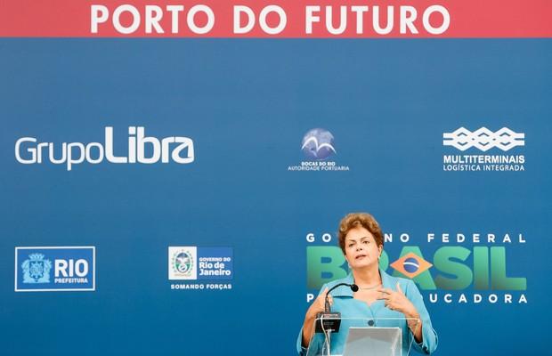 Dilma Rousseff discursa em cerimônia no Porto do Rio (Foto: Roberto Stuckert Filho / PR)