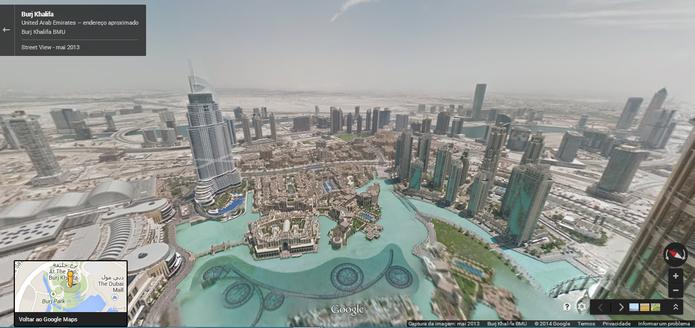 Vista de um dos andares do Burj Khalifa, o prédio mais alto do mundo, no Street View do Google Maps (Foto: Reprodução/Paulo Finotti)
