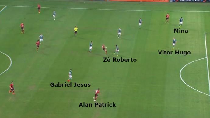 Defesa do Palmeiras falha na marcação no lance do gol do Flamengo (Foto: GloboEsporte.com)