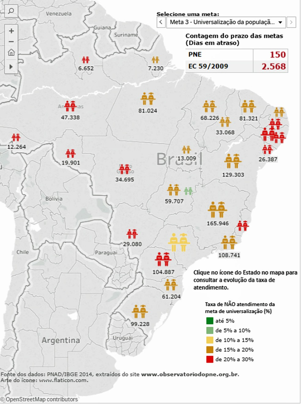Tribunais de contas pelo país acompanham cumprimento das metas do PNE por meio de um mapa on-line (Foto: Reprodução)