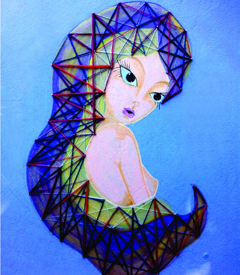 A exposição Desalinhada traz obras da artista Bayá, conhecida pela leveza e cores dos traços (Foto: Divulgação/Sesc)