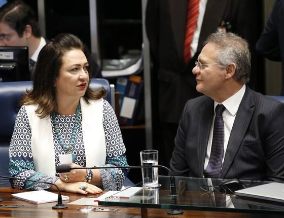 Kátia Abreu e Renan Calheiros (Foto: PMDB Nacional/Flickr)