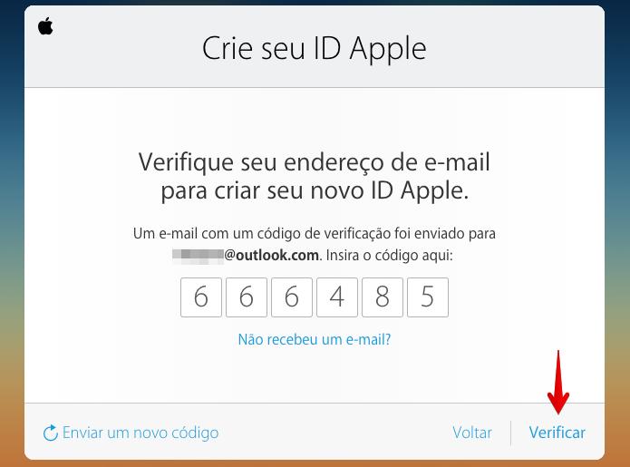 Digite o código enviado ao seu e-mail (Foto: Reprodução/Helito Bijora)