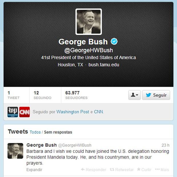 Bush pai abre conta no Twitter e presta homenagens a Mandela (Foto: Reprodução/ Twitter)