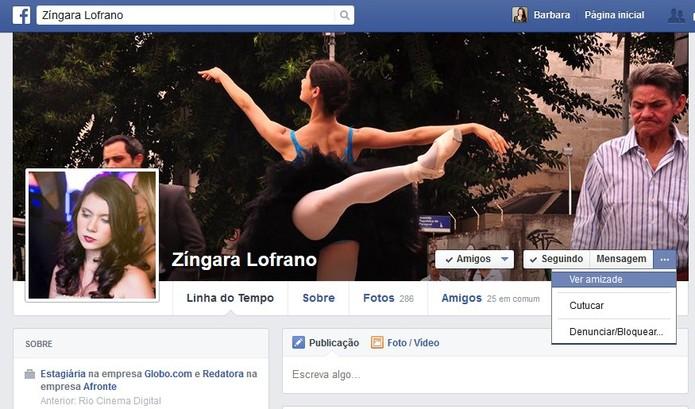 """Acesse o perfil do seu amigo e clique em """"ver amizade"""" para visualizar a página especial no Facebook (Foto: Reprodução/Barbara Mannara)"""