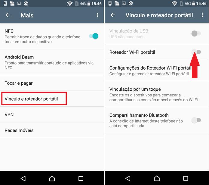 """Ative o Wi-Fi na chave de """"Roteador Wi-Fi portátil"""" (Foto: Reprodução/Caio Bersot)"""