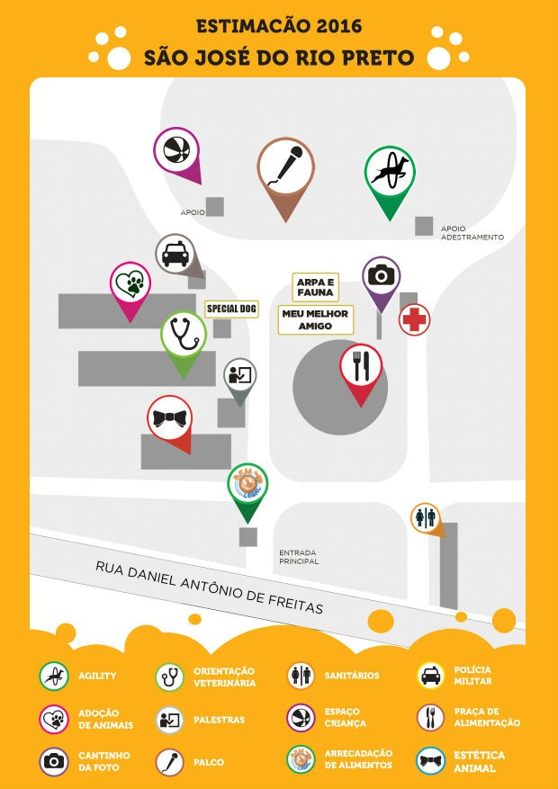 Confira o mapa do evento, que será realizado no Recinto de Exposições (Foto: Divulgação)