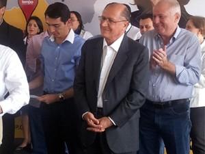 Governador Geraldo Alckmin durante visita a Barretos nesta terça-feira (10) (Foto: Fernanda Testa/G1)