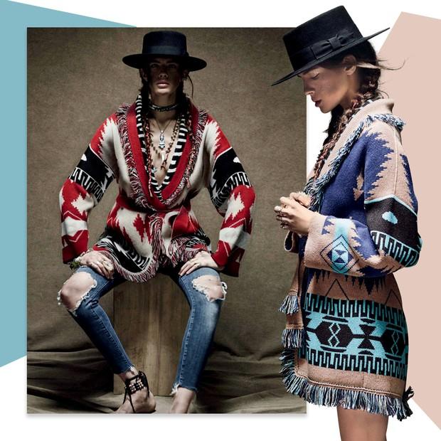Os quimonos inspirados nos ponchos andinos da italiana Alanui (Foto: Reprodução Vogue Russia Novembro de 2016 Página 202 e Divulgação)
