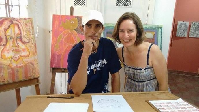 A repórter Edlaine Garcia foi conferir a abertura da exposição do Ivanildo Pereira dos Santos (Foto: reprodução EPTV)