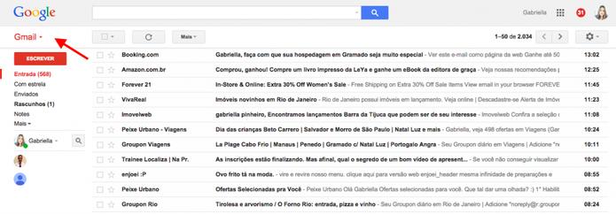 Abra sua caixa de email do Gmail e clique em Gmail em cima, como indica a seta  (Foto: Reprodução/Gabriela Fizsman)