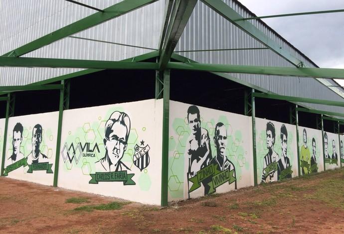 Vila Olímpica - Grafite Muro personagens Uberlândia Esporte (Foto: Luis Corvini)