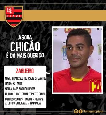 Chicão, novo zagueiro do Flamengo-PI  (Foto: Divulgação/ECF)