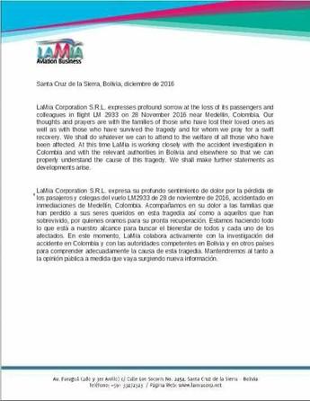 comunicado LaMia (Foto: Reprodução TeleMedellín)
