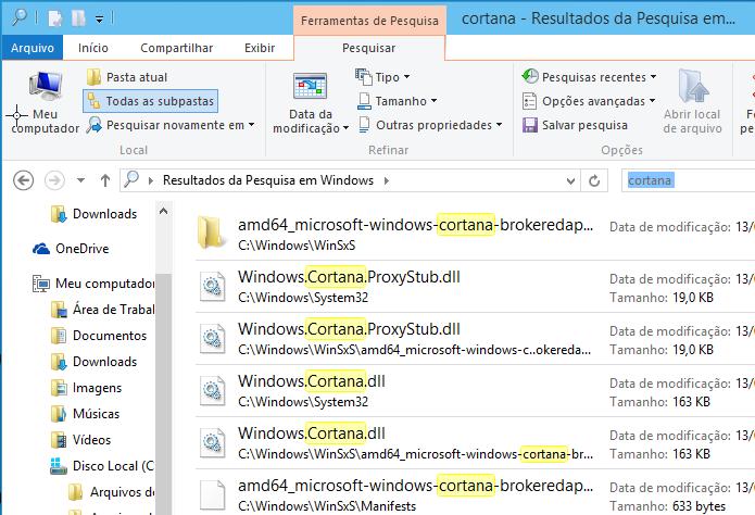 Arquivos relacionados à palavra cortana encontrados no Windows 10 (Foto: Reprodução/Edivaldo Brito)