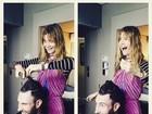 Adam Levine tem o cabelo cortado pela mulher, Behati Prinsloo