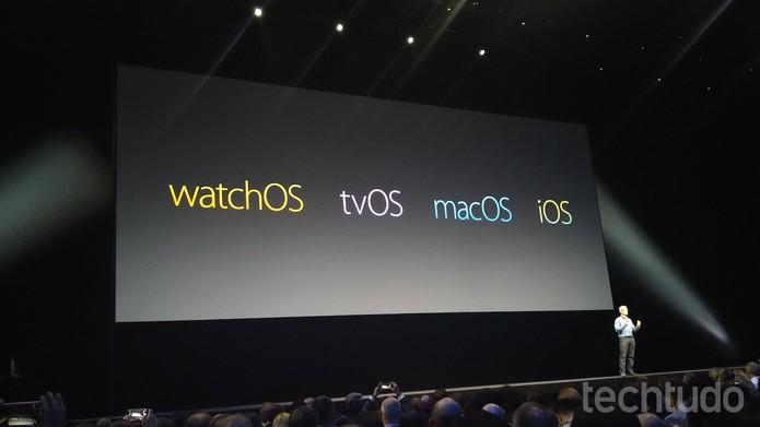 Os quatro sistemas operacionais da Apple, cada vez mais próximos (Foto: Fabrício Vitorino/TechTudo)