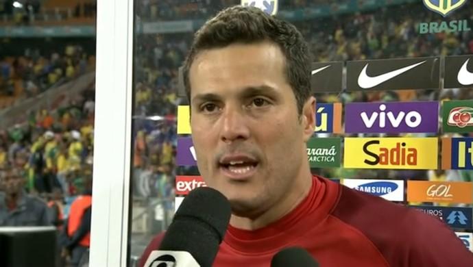 Julio César teve pouco trabalho no amistoso (Foto: Reprodução SporTV)