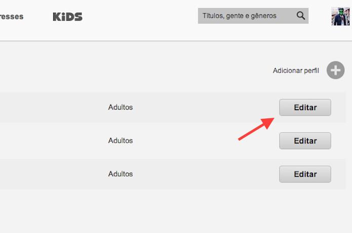 Editando um perfil adulto do Netflix (Foto: Reprodução/Marvin Costa)
